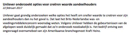 Unilever nieuwsbericht